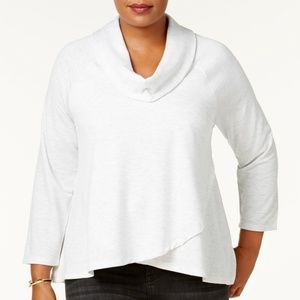 Style&Co Top Cowl Neck Cross Over Long Sleeve Soft